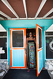 EXUMA, Bahamas. A local woman at the Staniel Yacht Club in Staniel Cay.