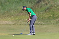 Tiarnan McLarnon (Masereene) on the 15th green during Round 4 of the East of Ireland Amateur Open Championship 2018 at Co. Louth Golf Club, Baltray, Co. Louth on Monday 4th June 2018.<br /> Picture:  Thos Caffrey / Golffile<br /> <br /> All photo usage must carry mandatory copyright credit (&copy; Golffile | Thos Caffrey)