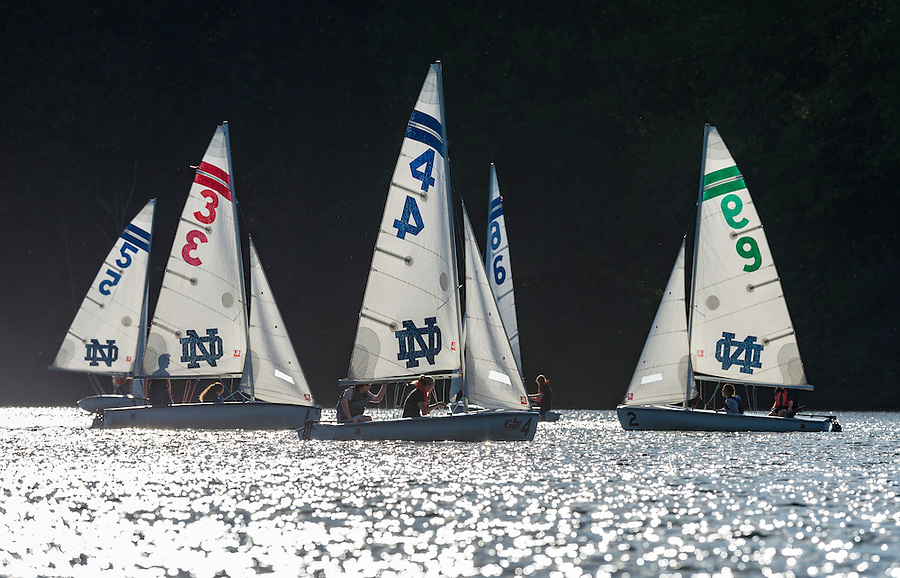 September 26, 2016; The Notre Dame sailing team practices on St. Joseph Lake.  (Photo by Barbara Johnston/University of Notre Dame)