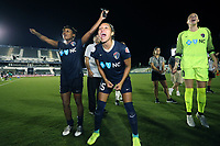Cary, North Carolina  - Saturday June 17, 2017: Jaelene Hinkle, Taylor Smith, and Katelyn Rowland after a regular season National Women's Soccer League (NWSL) match between the North Carolina Courage and the Boston Breakers at Sahlen's Stadium at WakeMed Soccer Park. The Courage won the game 3-1.
