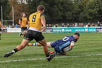 Ed Hoadley of London Scottish scores a try during the Greene King IPA Championship match between London Scottish Football Club and Ealing Trailfinders at Richmond Athletic Ground, Richmond, United Kingdom on 8 September 2018. Photo by David Horn.