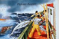 Europe/France/Aquitaine/64/Pyrénées-Atlantiques/Saint-Jean-de-Luz: détail enseigne d'un bateau proposant la péche au gros aux amateurs