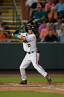 Delmarva Shorebirds Adam Hall (10) during a South Atlantic League game against the Greensboro Grasshoppers on August 21, 2019 at Arthur W. Perdue Stadium in Salisbury, Maryland.  Delmarva defeated Greensboro 1-0.  (Mike Janes/Four Seam Images)