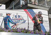 Verizon IndyCar Series<br /> IndyCar Grand Prix<br /> Indianapolis Motor Speedway, Indianapolis, IN USA<br /> Saturday 13 May 2017<br /> Scott Dixon, Chip Ganassi Racing Teams Honda, Will Power, Team Penske Chevrolet champagne<br /> World Copyright: Geoffrey M. Miller LAT Images