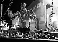 Pacific Coast Seafood dock manager Richard Morgan fills bins full of fresh-caught dungeness crab as the bins are unloaded from fishing boat Hog Heaven at Pier 45 in San Francisco, California, on November 16, 2014.