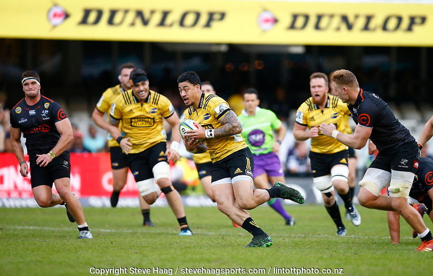Ben Lam of the Hurricanes during the Super Rugby match between Cell C Sharks and Hurricanes at Jonsson Kings Park Stadium in Durban, South Africa on Saturday, 1 June 2019. Photo by Steve Haag / stevehaagsports.com