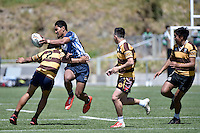 Action from the Rugby League College Finals - College Sport Cup Final Porirua College v Naenae College at Te Whaea in Wellington, New Zealand on Saturday 25 October 2014. <br /> Photo by Masanori Udagawa. <br /> www.photowellington.photoshelter.com.