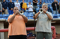 Binghamton Mets national anthem with radio DJ Louie G (left) before a game against the Bowie Baysox on August 3, 2014 at NYSEG Stadium in Binghamton, New York.  Bowie defeated Binghamton 8-2.  (Mike Janes/Four Seam Images)
