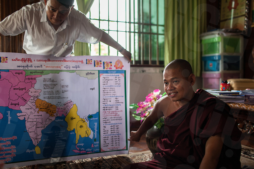 Monk Wimala, one of the founder of 969 movement, shows a propagandic map in his Monastery in Mawlamyine. They believe that some arabs countries are financing the Burmese Muslims in order to overcome the Buddhist majority. 17 June 2013 © Nicolas Axelrod  / Ruom