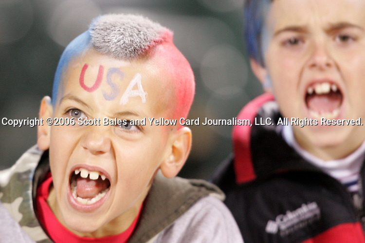 10 February 2006: A U.S. fan sports a red, white, and blue mohawk. The United States Men's National Team defeated Japan 3-2 at SBC Park in San Francisco, California in an International Friendly soccer match.