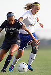 BROOKINGS, SD - SEPTEMBER 6:  Danielle Green #7 from Nevada battles for the ball with Diana Potterveld #7 from South Dakota State University in the first half of their game Friday night in Brookings. (Photo by Dave Eggen/Inertia)