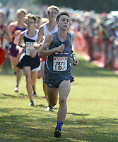 NWA Democrat-Gazette/ANDY SHUPE<br /> Fayetteville's Jack Williams nears the finish line Saturday, Oct. 5, 2019, during the Chile Pepper Cross Country Festival at Agri Park in Fayetteville. Visit nwadg.com/photos to see more photographs from the races.