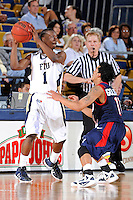 25 February 2012:  FIU guard Deric Hill (1) handles the ball while being defended by South Alabama guard Freddie Goldstein (11) in the first half as the FIU Golden Panthers defeated the University of South Alabama Jaguars, 81-74, at the U.S. Century Bank Arena in Miami, Florida.