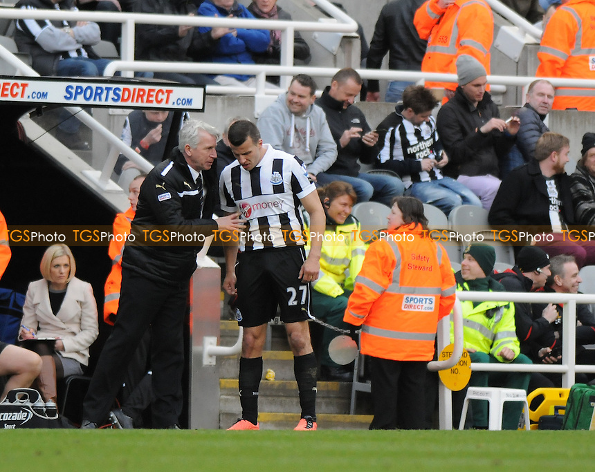 Newcastle United Manager Alan Pardew  gives Steven Taylor instrctions after the sixth goal - Newcastle United vs Liverpool - Barclays Premier League Football at St James Park, Newcastle upon Tyne - 27/04/13 - MANDATORY CREDIT: Steven White/TGSPHOTO - Self billing applies where appropriate - 0845 094 6026 - contact@tgsphoto.co.uk - NO UNPAID USE