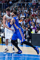 Real Madrid's Willy Hernangómez and Khimki Moscow's Josh Boone during Euroleague match at Barclaycard Center in Madrid. April 07, 2016. (ALTERPHOTOS/Borja B.Hojas) /NortePhoto