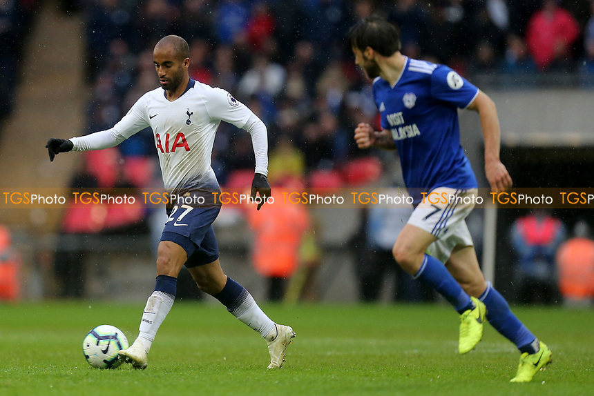 Harry Arter of Cardiff City and Lucas of Tottenham Hotspur during Tottenham Hotspur vs Cardiff City, Premier League Football at Wembley Stadium on 6th October 2018