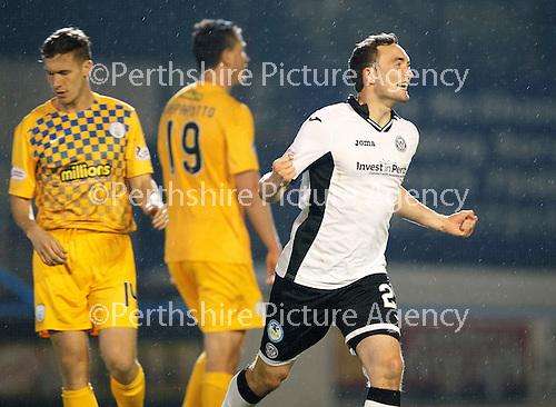 Greenock Morton v St Johnstone...27.10.15  League Cup Quarter Final, Cappielow...<br /> Chris Kane celebrates his goal <br /> Picture by Graeme Hart.<br /> Copyright Perthshire Picture Agency<br /> Tel: 01738 623350  Mobile: 07990 594431