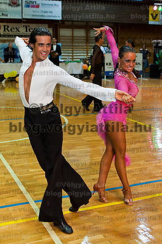 Andrea Silvestri and Martina Varadi perform their dance during the adult latin-american ranking competition held in Kiskunhalas, Hungary, Sunday, 07. September 2008. ATTILA VOLGYI