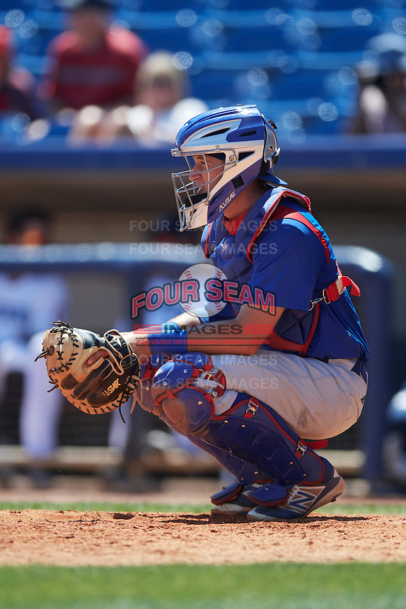 South Bend Cubs catcher P.J. Higgins (7) during a game against the Lake County Captains on July 27, 2016 at Classic Park in Eastlake, Ohio.  Lake County defeated South Bend 5-4.  (Mike Janes/Four Seam Images)