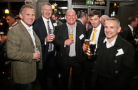 Cheers! From left are Mike Howard of Grange Developments, Austin Moore of Gateley, David Hayle and Phil Wood of PJD and Pino De Rosa of Bridgeway Consulting