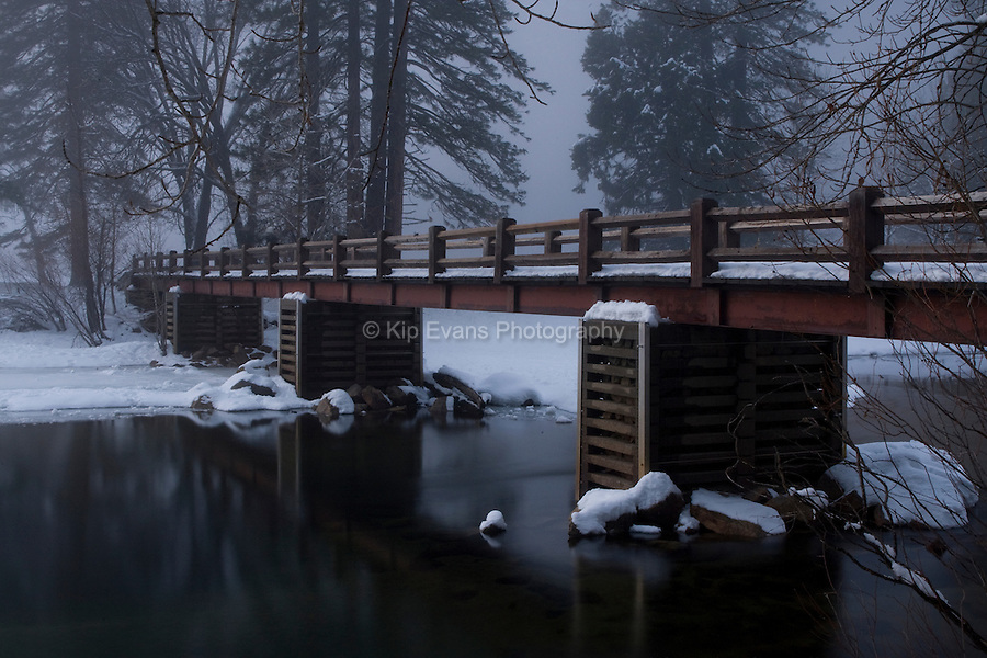 Sandy River Bank and Bridge, Merced River, Yosemite National Park.