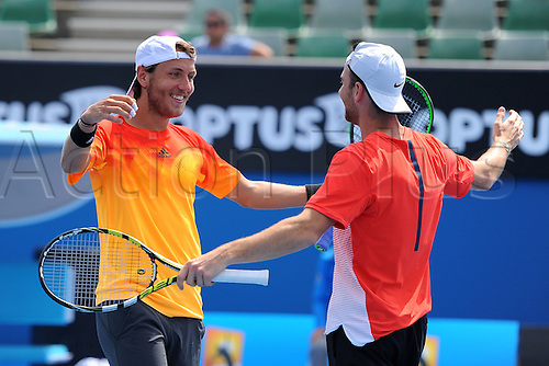 26.01.2016. Melbourne Park, Melbourne, Australia. Australian Open Tennis Championships.  Quarter-finals day.  Lucas Pouille (FRA) and<br />