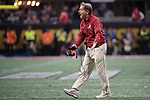 ATLANTA, GA - JANUARY 08: Head Coach Nick Saban of the Alabama Crimson Tide yells at his team against the Georgia Bulldogs during the College Football Playoff National Championship held at Mercedes-Benz Stadium on January 8, 2018 in Atlanta, Georgia. Alabama defeated Georgia 26-23 for the national title. (Photo by Jamie Schwaberow/Getty Images)