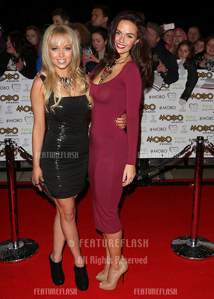 Jennifer Metcalfe and Jorgie Porter arriving for The MOBO awards 2012 held at the Echo Arena, Liverpool. 03/11/2012 Picture by: Henry Harris / Featureflash