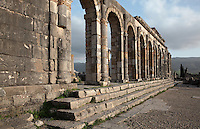 The colonnaded facade which lined the Forum or marketplace and forms one side of the Roman Basilica, 217 AD, used as courts of justice and city governance, Volubilis, Northern Morocco. Volubilis was founded in the 3rd century BC by the Phoenicians and was a Roman settlement from the 1st century AD. Volubilis was a thriving Roman olive growing town until 280 AD and was settled until the 11th century. The buildings were largely destroyed by an earthquake in the 18th century and have since been excavated and partly restored. Volubilis was listed as a UNESCO World Heritage Site in 1997. Picture by Manuel Cohen