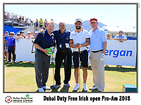 Jihad El Sibai, Enda Kenny and Padraig McManus playing with Lee Slattery (ENG) on the 10th tee during Wednesday's Pro-Am of the 2018 Dubai Duty Free Irish Open, held at Ballyliffin Golf Club, Ireland. 4th July 2018.<br /> Picture: Eoin Clarke | Golffile<br /> <br /> <br /> All photos usage must carry mandatory copyright credit (&copy; Golffile | Eoin Clarke)