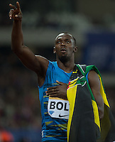 Usain BOLT of Jamaica (Men's 100m) celebrates his victory during the Sainsburys Anniversary Games at the Olympic Park, London, England on 24 July 2015. Photo by Andy Rowland.