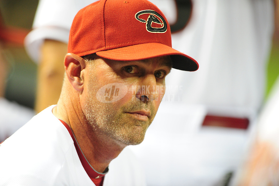Apr. 25, 2011; Phoenix, AZ, USA; Arizona Diamondbacks manager Kirk Gibson in the dugout in the sixth inning against the Philadelphia Phillies at Chase Field. Mandatory Credit: Mark J. Rebilas-