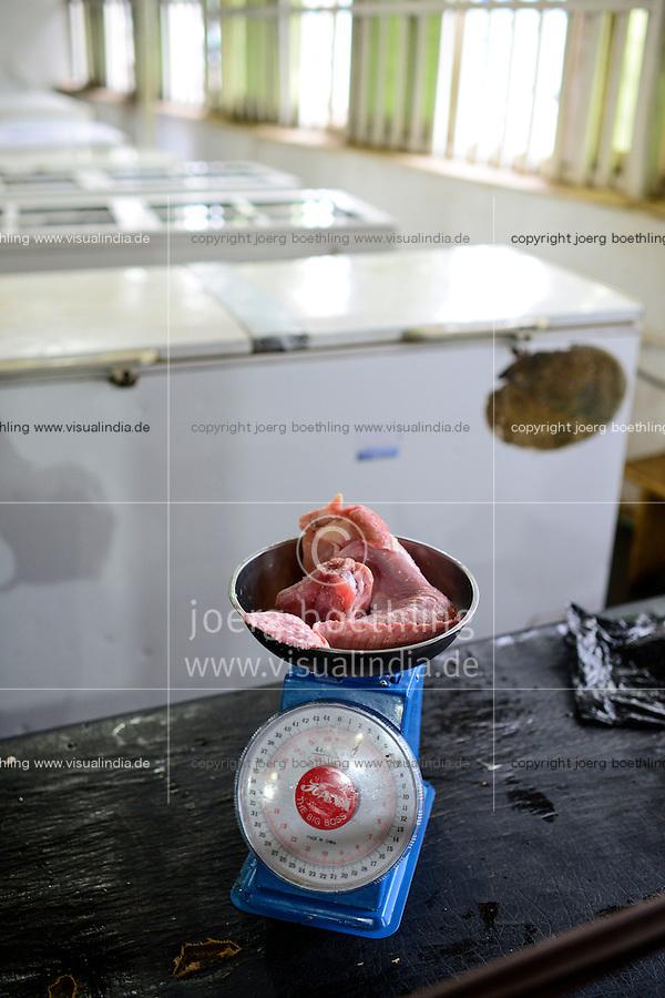 NIGERIA, Ibadan, Frozen Food, selling of illegal imported chicken meat from Europe in a frozen food shop, the meat is often smuggled from Benin, chicken from UK and France / NIGERIA, Oyo State, Ibadan, Frozen Food, Verkauf von illegal importiertem Huehnerfleisch aus der EU z.B. UK und Frankreich in einem TK Laden