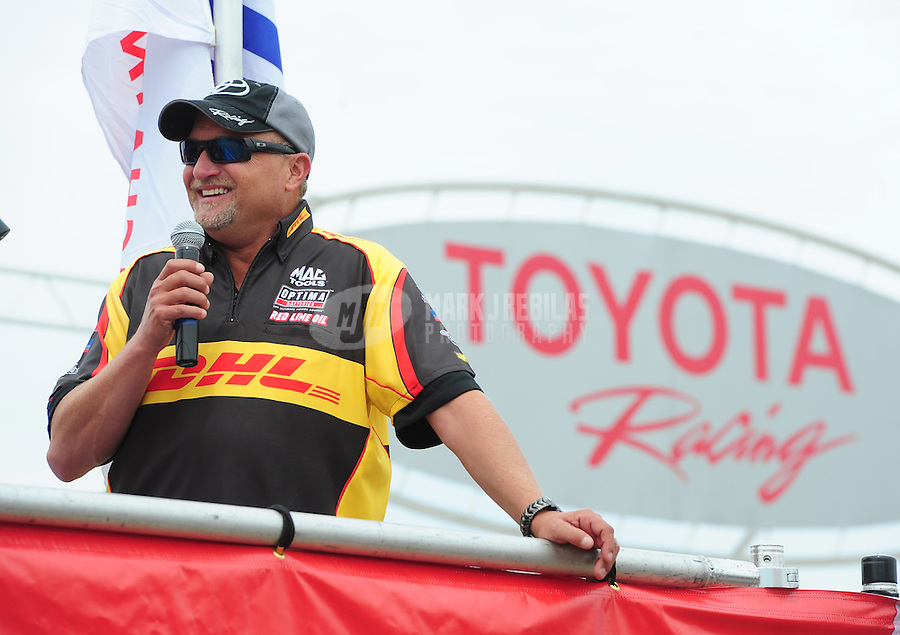 Jun. 29, 2012; Joliet, IL, USA: NHRA funny car driver Jeff Arend during qualifying for the Route 66 Nationals at Route 66 Raceway. Mandatory Credit: Mark J. Rebilas-