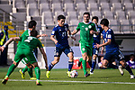 Doan Ritsu of Japan (C) is challenged by Turkmenistan players during the AFC Asian Cup UAE 2019 Group F match between Japan (JPN) and Turkmenistan (TKM) at Al Nahyan Stadium on 09 January 2019 in Abu Dhabi, United Arab Emirates. Photo by Marcio Rodrigo Machado / Power Sport Images