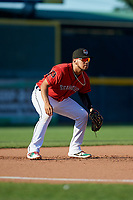 Erie SeaWolves third baseman Isaac Paredes (18) during an Eastern League game against the Richmond Flying Squirrels on August 28, 2019 at UPMC Park in Erie, Pennsylvania.  Richmond defeated Erie 6-4 in the first game of a doubleheader.  (Mike Janes/Four Seam Images)