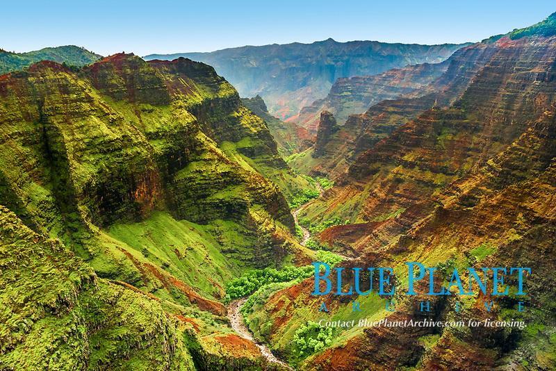 Waimea Canyon, the Grand Canyon of the Pacific Ocean, approximately one mile wide and ten miles long, more than 3,500 feet deep, Waimea Canyon State Park, Kauai, Hawaii, USA