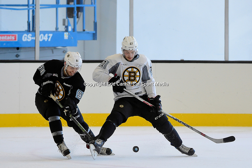 Wednesday, September 21, 2016: Boston Bruins rookie forward Matt Mistele (91) and defenseman Jakub Zobril (67) skate during the Boston Bruins rookie camp at Warrior Ice Arena, in Brighton, Massachusetts. Eric Canha/CSM