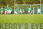Sean Dee of Beal saves the shot of James Flaherty of Finuge in the Bernard O'Callaghan Memorial Senior Football Championship Final last Sunday in Ballylongford.