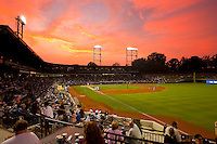 The sun sets over BB&T Ballpark during the Carolina League game between the Myrtle Beach Pelicans and the Winston-Salem Dash on August 27, 2011 in Winston-Salem, North Carolina.  The Pelicans defeated the Dash 3-1.   Brian Westerholt / Four Seam Images