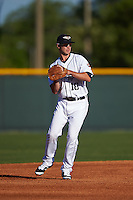 Lakeland Flying Tigers third baseman Zach Shepherd (18) warmup throw to first during a game against the Tampa Yankees on April 7, 2016 at Henley Field in Lakeland, Florida.  Tampa defeated Lakeland 9-2.  (Mike Janes/Four Seam Images)