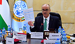 Palestinian Prime Minister, Rami Hamdallah attends the meeting of the latest developments in the reconstruction of the Gaza Strip, in the West Bank city of Ramallah, on February 28, 2019. Photo by Prime Minister Office