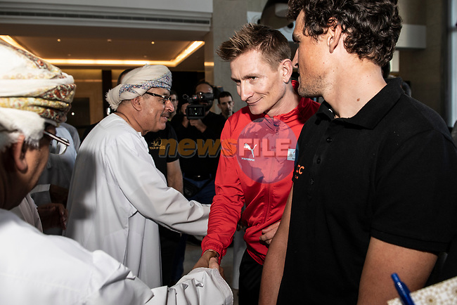 Ministerial visit to meet with some of the top riders including Andre Greipel (GER) and Greg Van Avermaet (BEL) before the start of 10th Tour of Oman 2019, Muscat, Oman. 15th February 2019.<br /> Picture: ASO/P.Ballet | Cyclefile<br /> All photos usage must carry mandatory copyright credit (© Cyclefile | ASO/P.Ballet)