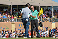 Sean O'Hair (USA) shakes hands with Jimmy Walker (USA) following Round 4 of the Valero Texas Open, AT&amp;T Oaks Course, TPC San Antonio, San Antonio, Texas, USA. 4/22/2018.<br /> Picture: Golffile | Ken Murray<br /> <br /> <br /> All photo usage must carry mandatory copyright credit (&copy; Golffile | Ken Murray)