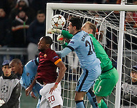 during the Champions League Group E soccer match between As Roma and Manchester City  at the Olympic Stadium in Rome December 10 , 2014.