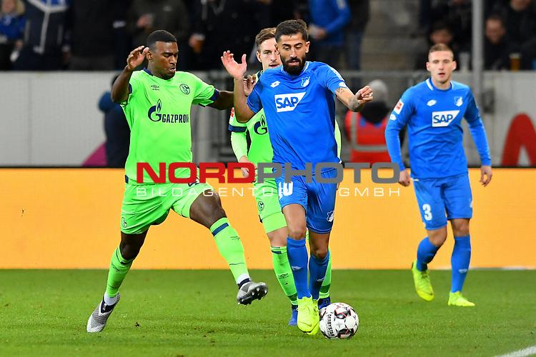 01.12.2018, wirsol Rhein-Neckar-Arena, Sinsheim, GER, 1 FBL, TSG 1899 Hoffenheim vs FC Schalke 04, <br /> <br /> DFL REGULATIONS PROHIBIT ANY USE OF PHOTOGRAPHS AS IMAGE SEQUENCES AND/OR QUASI-VIDEO.<br /> <br /> im Bild: Haji Wright (FC Schalke 04 #40) gegen Kerem Demirbay (TSG Hoffenheim #10)<br /> <br /> Foto © nordphoto / Fabisch