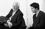 """King Lear"" rehearsed reading rehearsals. Old Vic Theatre. Director: Jonathan Miller. L to R: Robert Young, Tam Williams."
