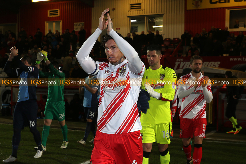 Jack King of Stevenage leads out his team during Stevenage vs Leyton Orient, Sky Bet EFL League 2 Football at the Lamex Stadium on 28th February 2017