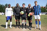 Pre-match line-up - Inter Moore (blue/black) vs Stratford Juniors (white) - East London Sunday League Jubilee Cup Final at Wadham Lodge - 01/05/11 - MANDATORY CREDIT: Gavin Ellis/TGSPHOTO - Self billing applies where appropriate - Tel: 0845 094 6026