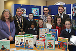 Winners Anna Kate Collins, Ronan Gumba Williams, Conor Kelly, Jennifer O'Donoghue, Chloe Doyle and Sorcha McGeown with Anne Keavney, Mayor Paul Bell, Manager of CTI Drogheda Paul Martin and Editor of the Drogheda Leader, Gordon Hatch at the Drogheda Counts Presentation in Drogheda Library...(Photo credit should read Jenny Matthews/NEWSFILE)...